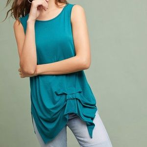 Anthropologie T.La Turquoise Gathered Pleat Tank